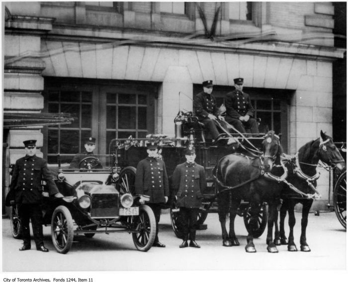 Horse-drawn fire reel and car, Adelaide Street West fire hall