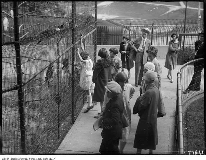Riverdale Zoo, children watching monkeys. - August 18, 1927