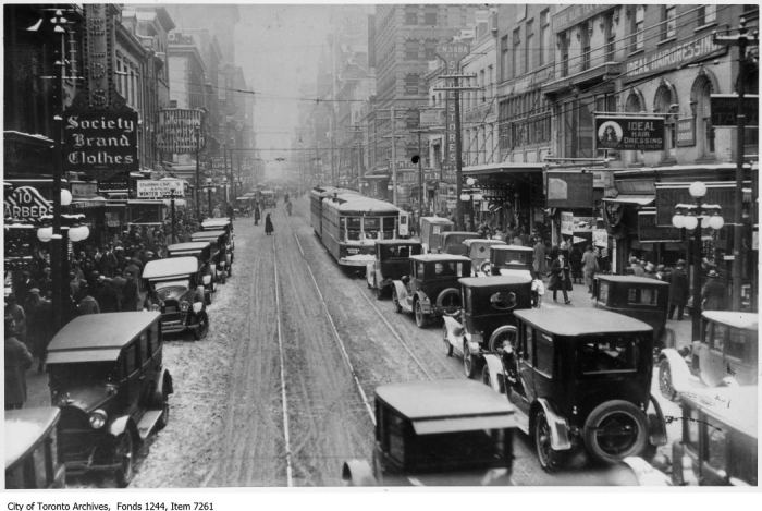 Yonge Street, looking north from near King Street. - December 24, 1924