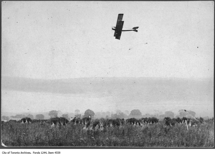 Airplane over flax fields, Willowdale. - [ca. 1917]