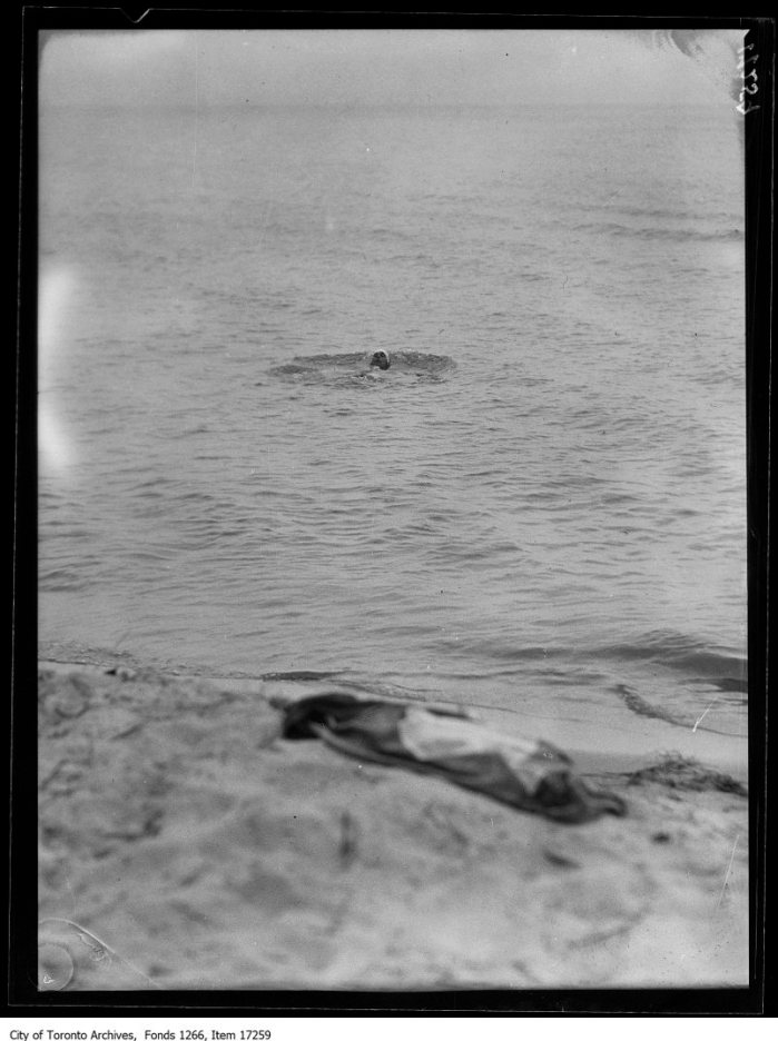 Rondeau Park, Miss Margaret McCrimmon swimming. - July 13, 1929